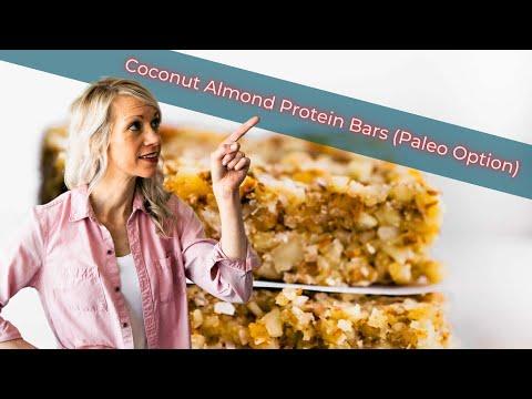 No Bake Coconut Almond Protein Bars (Paleo Option)
