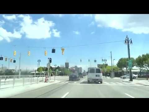 Detroit QLine: Driving  From M-1 Rail Penske Centre To Grand Blvd Stop