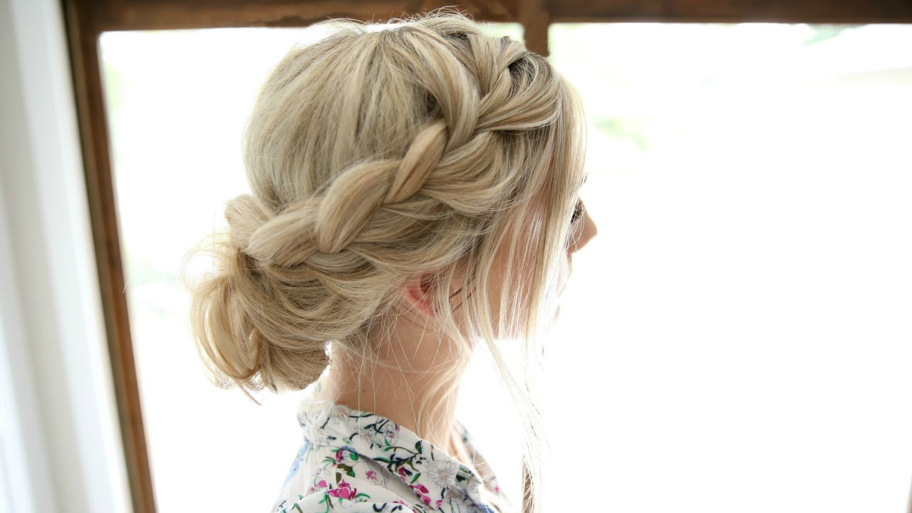 Soft Lace Braid Easy Romantic Updo Youtube
