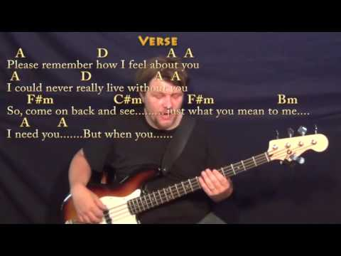 I Need You (Beatles) Bass Guitar Cover Lesson in A with Chords/Lyrics