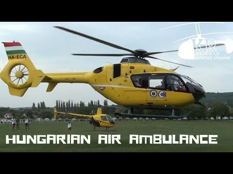 Medical helicopter startup and take off - Eurocopter EC-135 at Tök