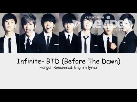 Infinite BTD lyrics HangulRomanisedEnglish