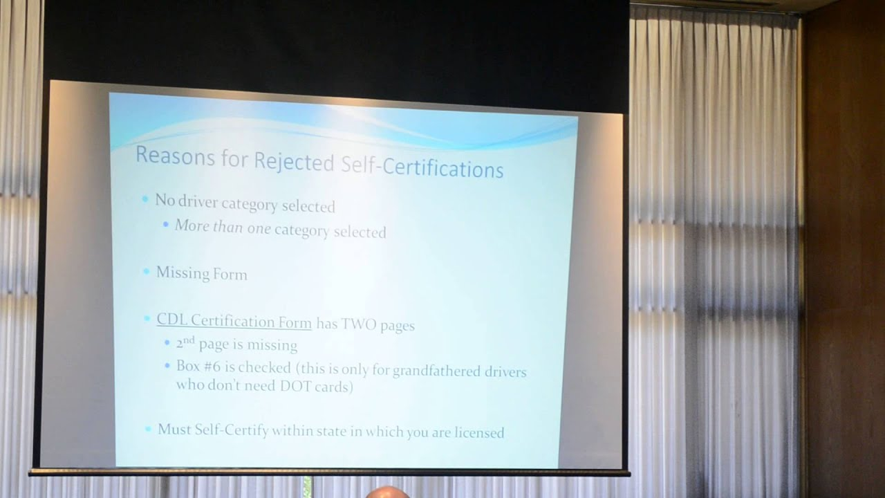 Cdl Self Certification Information Presentation Youtube