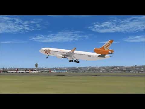 BOEING MD11 GOL LINHAS AÉREAS INTELIGENTES TAKE OFF FROM GARULHOS INTL AIRPORT FS9 HD