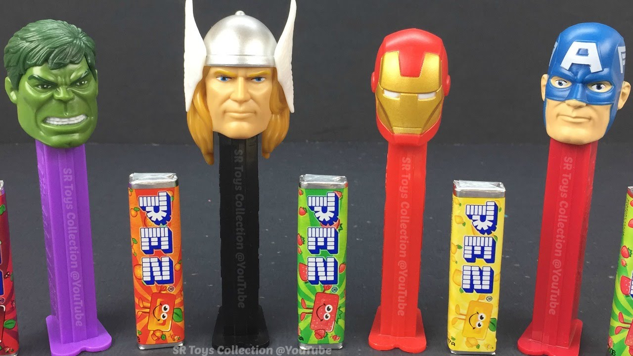 Marvel Avengers Hulk Iron Man Thor Captain America Pez Candy Dispensers Set of 4