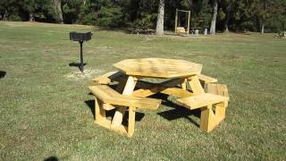 New Octagonal Picnic Tables At Cheraw State Park, South Carolina