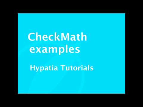 Tutorial   CheckMath examples