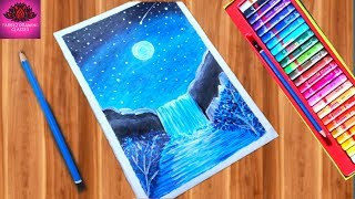 moonlight waterfall drawing with Oil Pastels -step by step