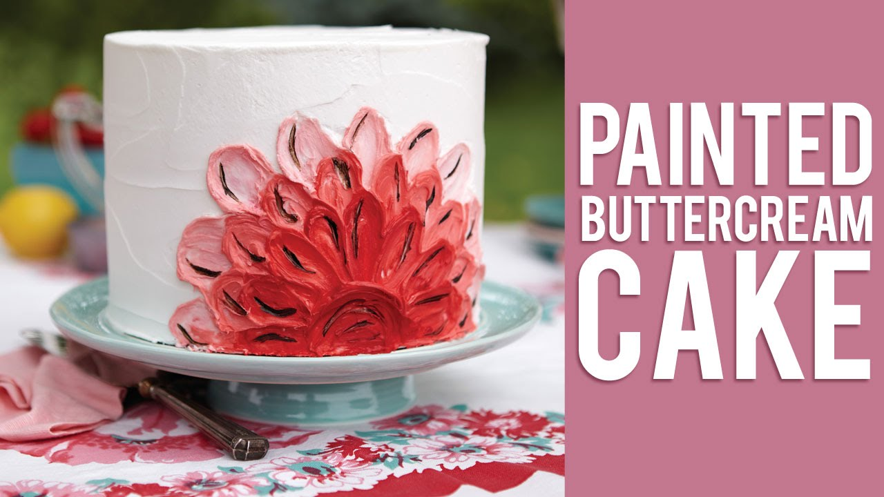 Cake Decorating Painting Icing : How to Make a Painted Buttercream Cake - YouTube