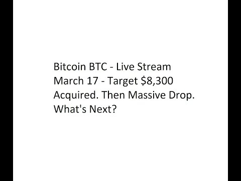 Bitcoin BTC - Live Stream March 17 - Target $8,300 Acquired. Then Massive Drop. What's Next?