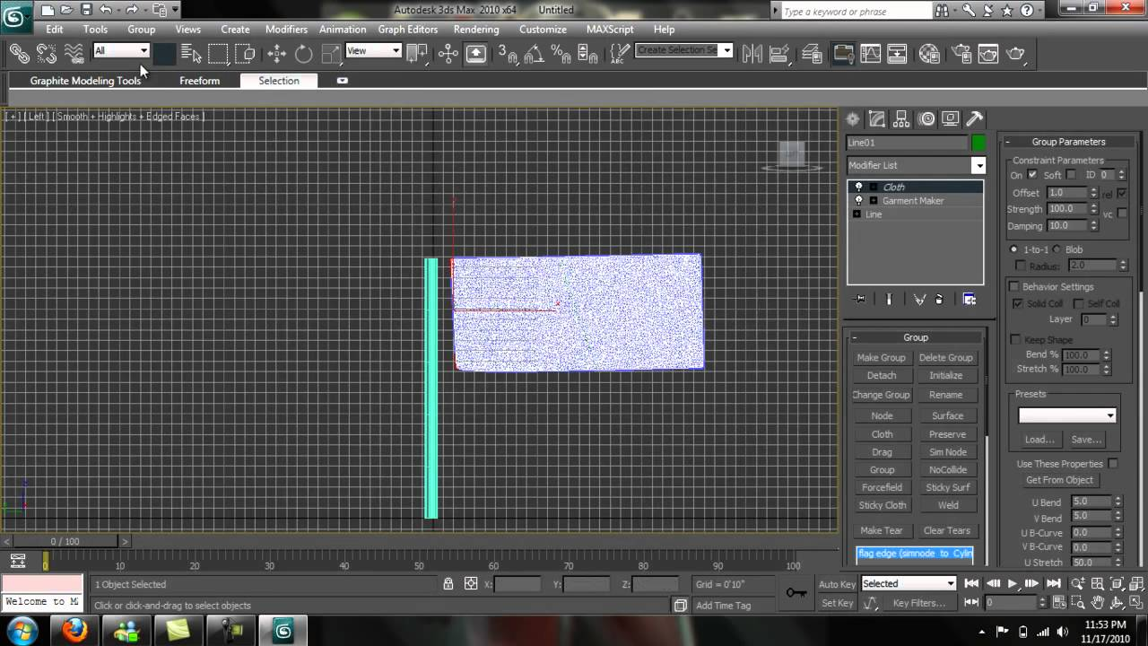 3ds max cloth modifier, flag in the wind