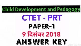 CTET Paper 1   Answer Key  Child development and pedagogy