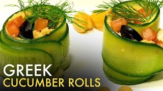 Greek Cucumber Rolls   Cucumber Starters   ग्रीक कुकुम्बर रोल्स   Veg Appetizers   Food Tak