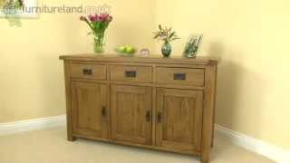 Rustic Solid Oak Large Sideboard From Oak Furniture Land