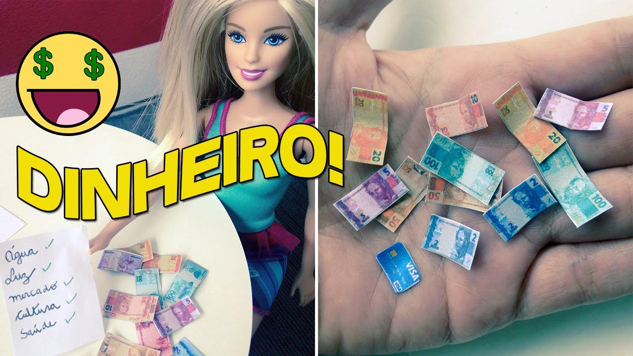 Como Fazer Dinheiro Para Barbie E Outras Bonecas Youtube