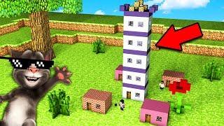 Я НАШЁЛ НЕБОСКРЕБ ГОВОРЯЩЕГО ТОМА В МАЛЕНЬКОЙ ДЕРЕВНЕ В Майнкрафт троллинг нуба Minecraft Мультик