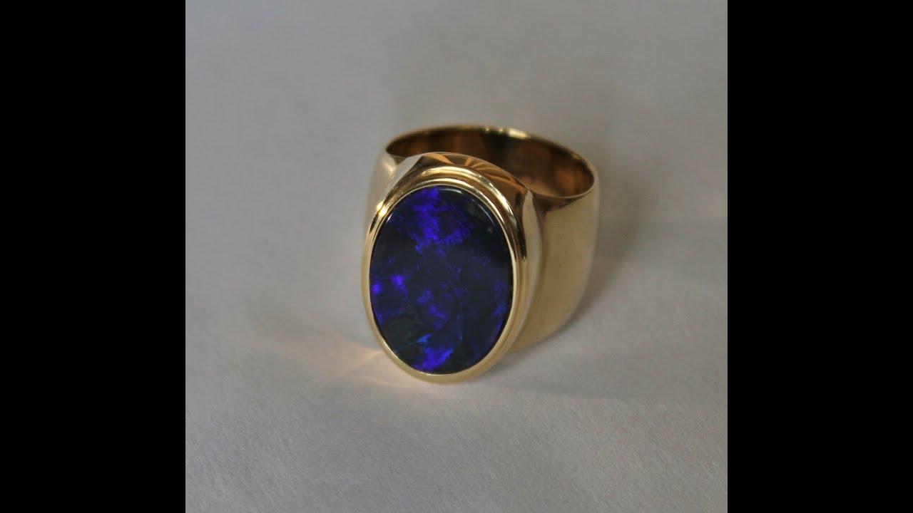 Australian Black Opal Mens Ring