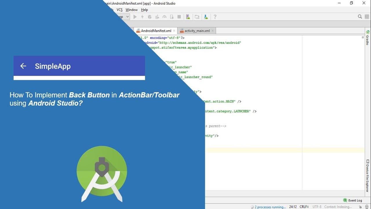 How to implement back button on ActionBar/Toolbar - Android Studio Tutorial