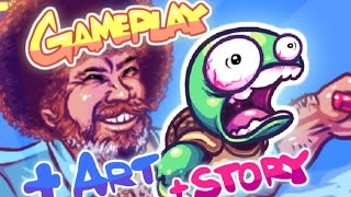 Repeat youtube video SUPER TOSS THE TURTLE GAMEPLAY, Buff Robby Rotten n Bob Ross art