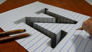 Draw a Letter N Hole on Line Paper   3D Trick Art
