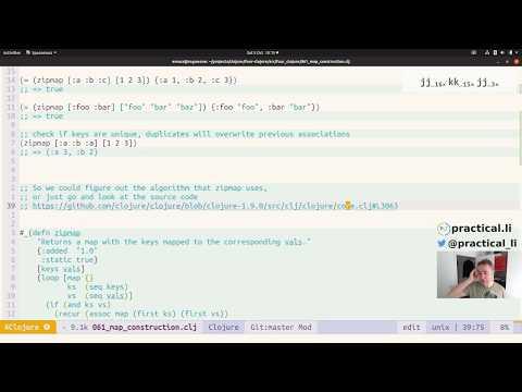 Practicalli Clojure 44 - 4Clojure 61 - zipmap and into functions thumbnail