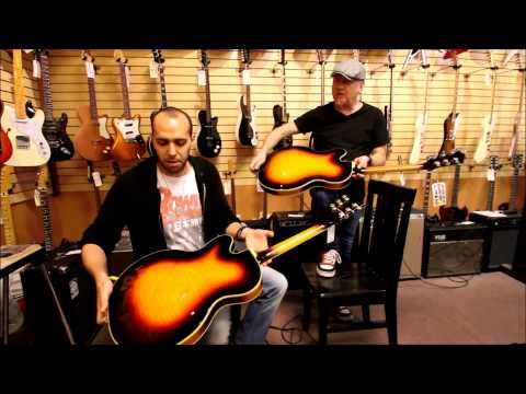 Mark and Nick playing some Guild Duane Eddys here at Norman's Rare Guitars