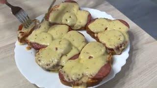 Горячие бутерброды в Микроволновке . Бутерброды с колбасой и сыром . Блюдо в Микроволновке