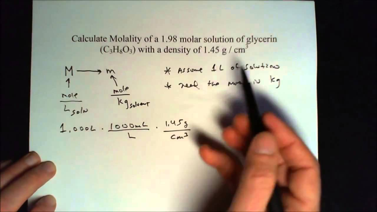 How do you calculate molality from molarity? + Example