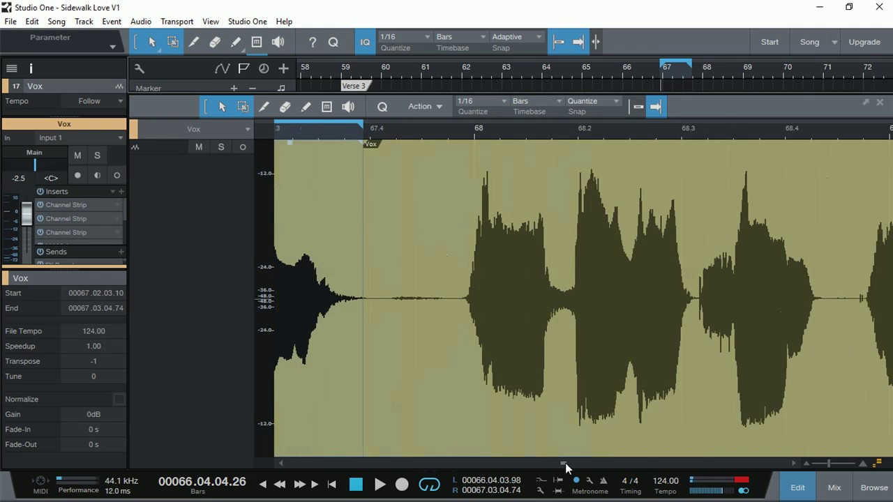 how to change pitch in studio one