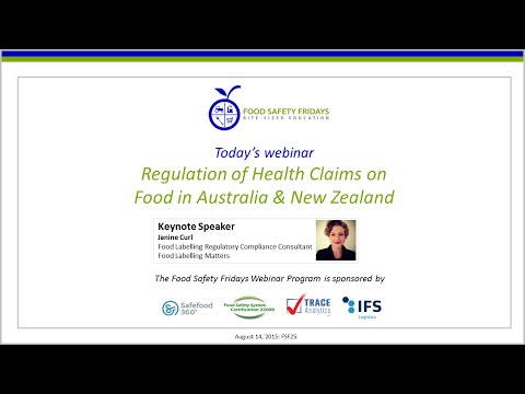 Regulation of Health Claims on Food in Australia and New Zea