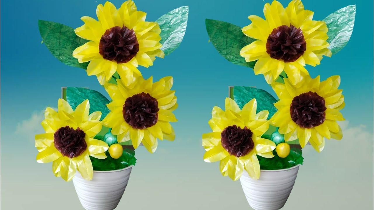 Cara Membuat Bunga Matahari Dari Plastik Kresek Diy How To Make Sunflower With Plastik Bag Youtube