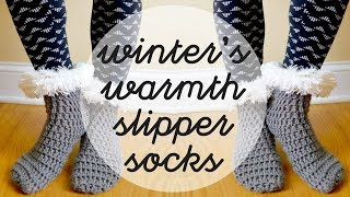 How To Crochet the Winter's Warmth Slipper Socks