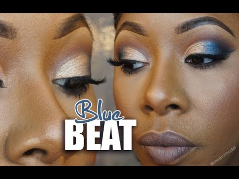 Glamorous Blue Smokey Cut Crease w GreyBrown Lips   MakeupMesha