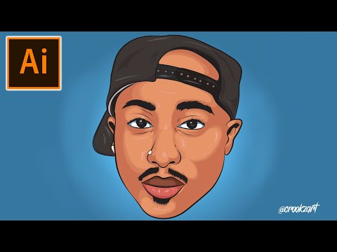 Secret Of How To Cartoon 2Pac Fanart Using Mouse [Adobe Illustrator CC 2019]