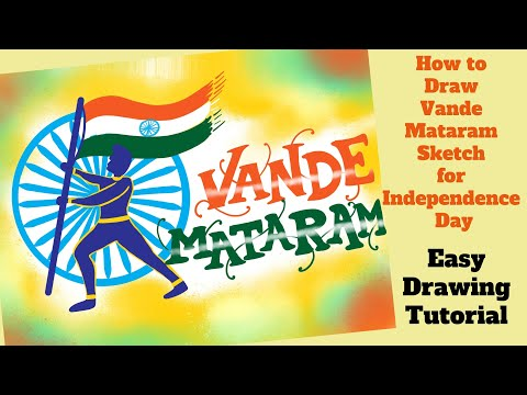 Draw Independence Day Vande Mataram sketch | Easy drawing step by step tutorial for Kids thumbnail