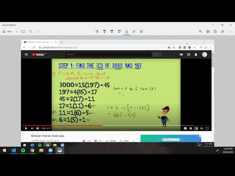 Number Theory   Extended Euclidean Algorithm Example #1 from YouTube · Duration:  8 minutes 53 seconds