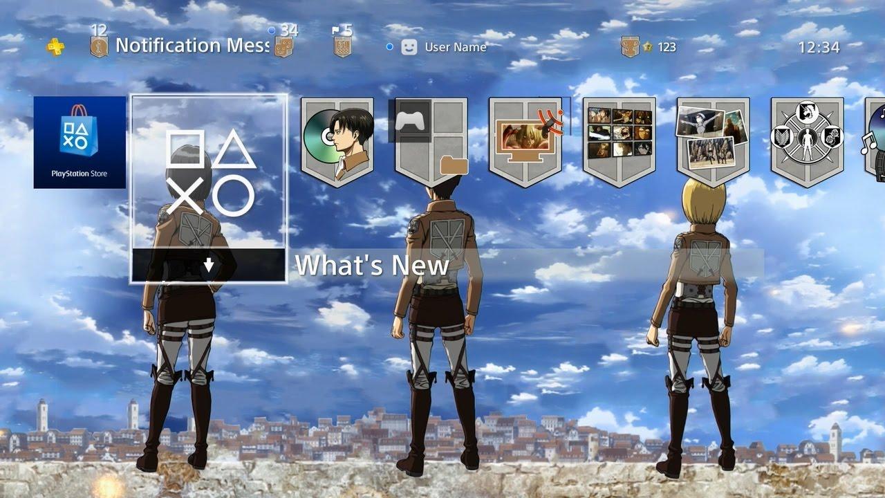 Attack On Titan Main Crew Playstation 4 Dynamic Theme Youtube