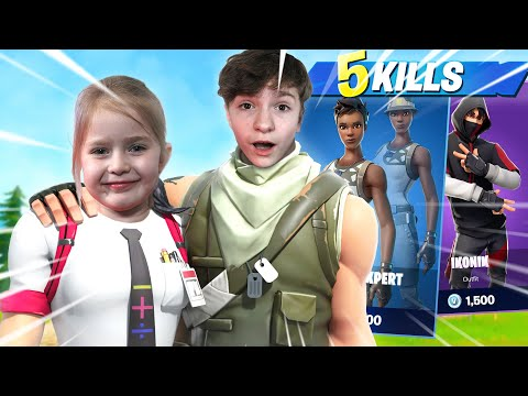 BUYING MY LITTLE SISTER SKINS IF SHE CAN GET 5 KILLS IN FORTNITE!! *YOUNGEST PLAYER EVER*