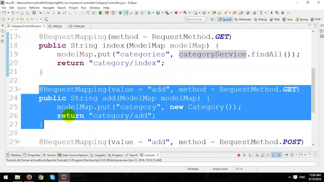 Crud with generic dao and generic service implementation in spring mvc and hibernate