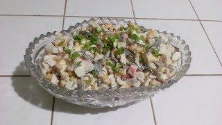 Салат с крабовыми палочками и морской капустой Супер простой рецепт
