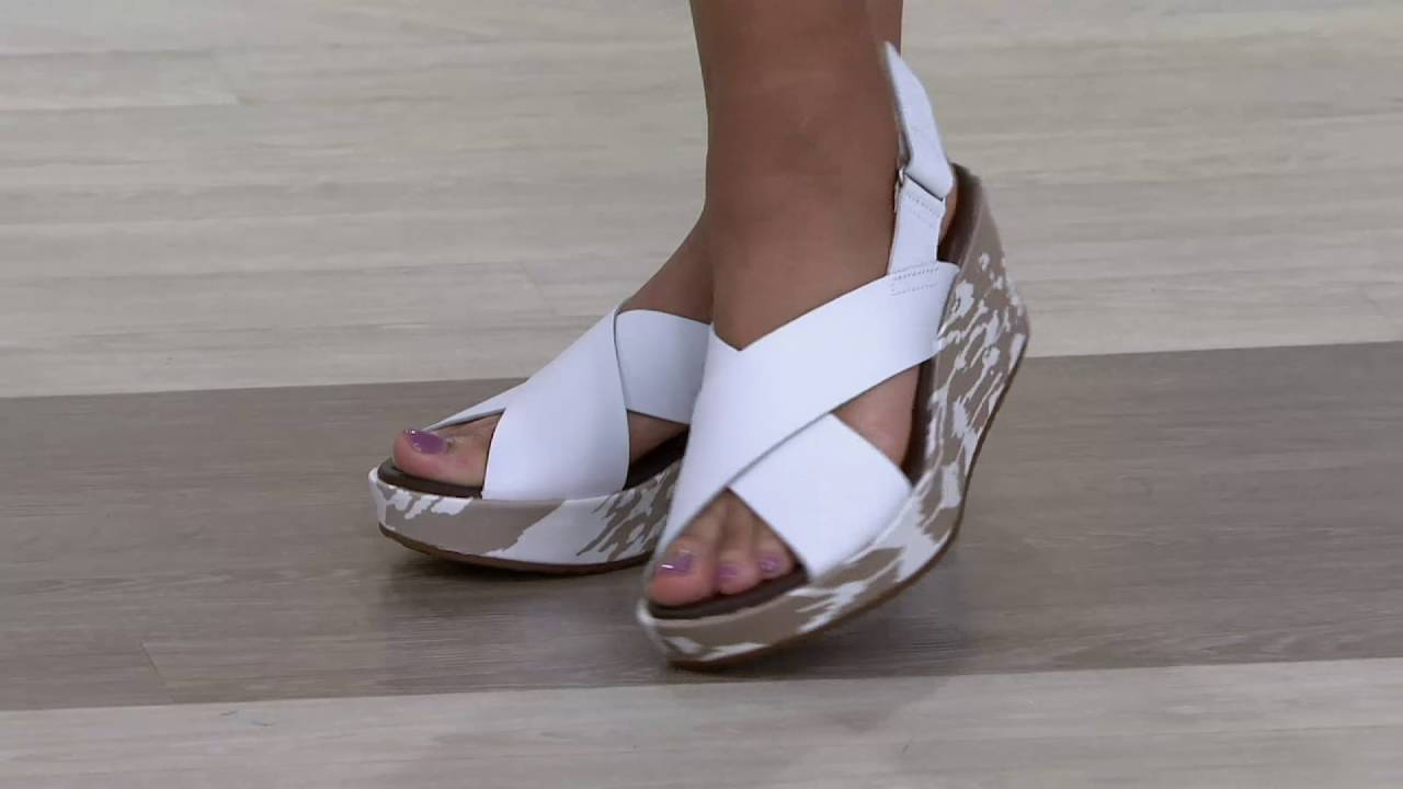 e99a88a88c2 Clarks Leather Cross Band Wedge Sandals - Stasha Hale on QVC - YouTube