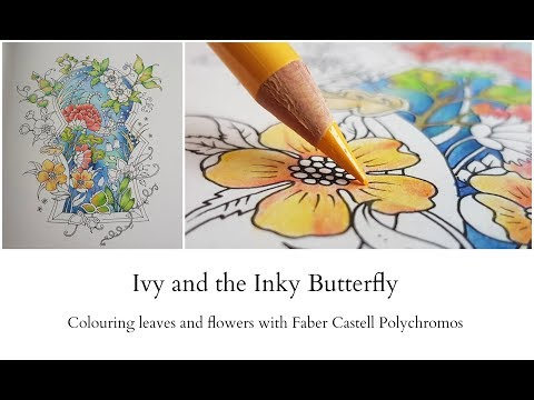 Ivy and the Inky Butterfly - Flowers and Leaves with Faber Castell Polychromos pencils