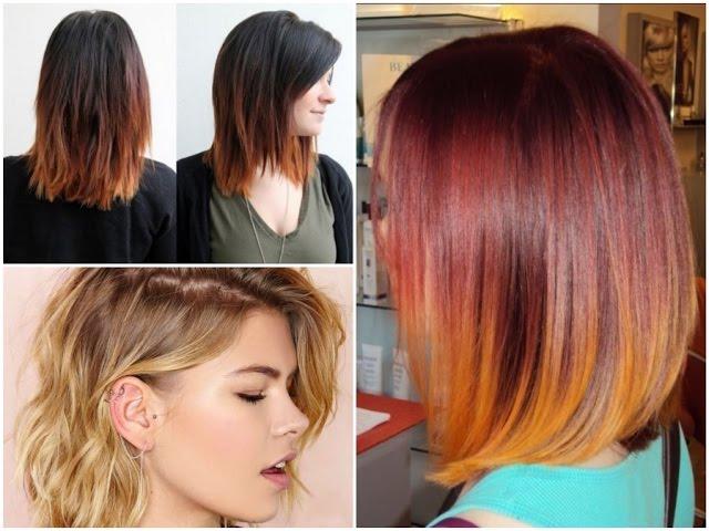 Необычная покраска волос каре