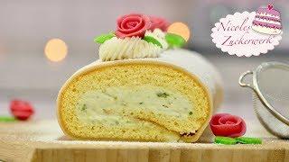 Pistazienrolle Biskuitrolle mit Marzipan I SUPERLECKER I Rezept von Nicoles Zuckerwerk