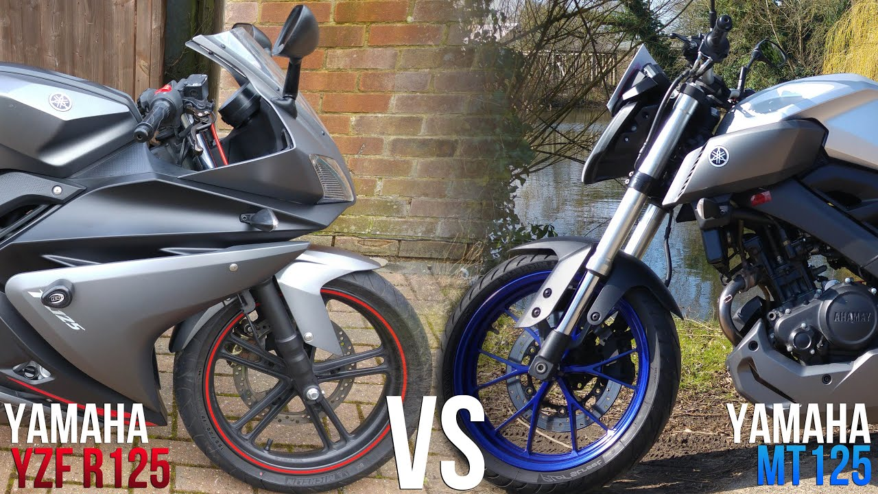 yamaha yzf r125 vs mt125 review comparison youtube. Black Bedroom Furniture Sets. Home Design Ideas