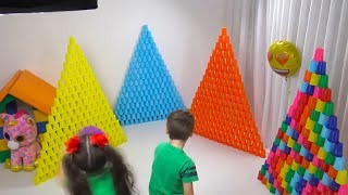 Petya and Nadia pretend to play with colorful cups | Chiki-Piki Pretend Play With Construction Toys