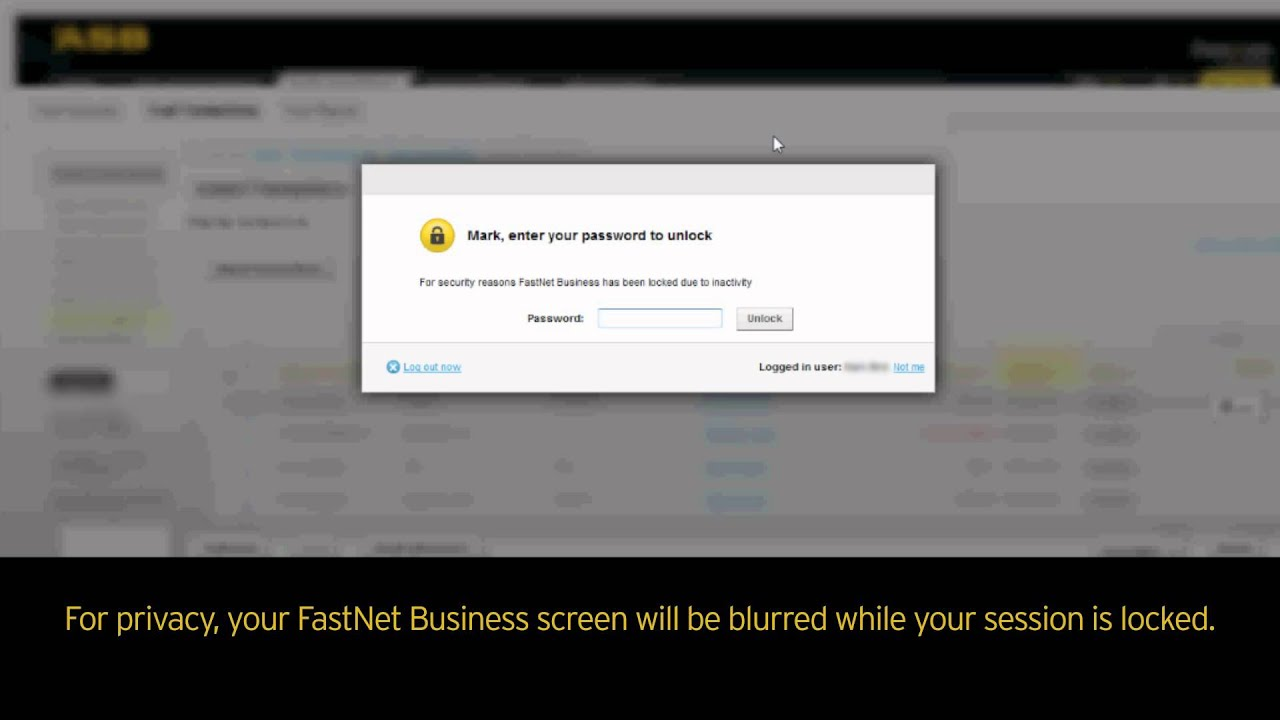 ASB FastNet Business locking feature