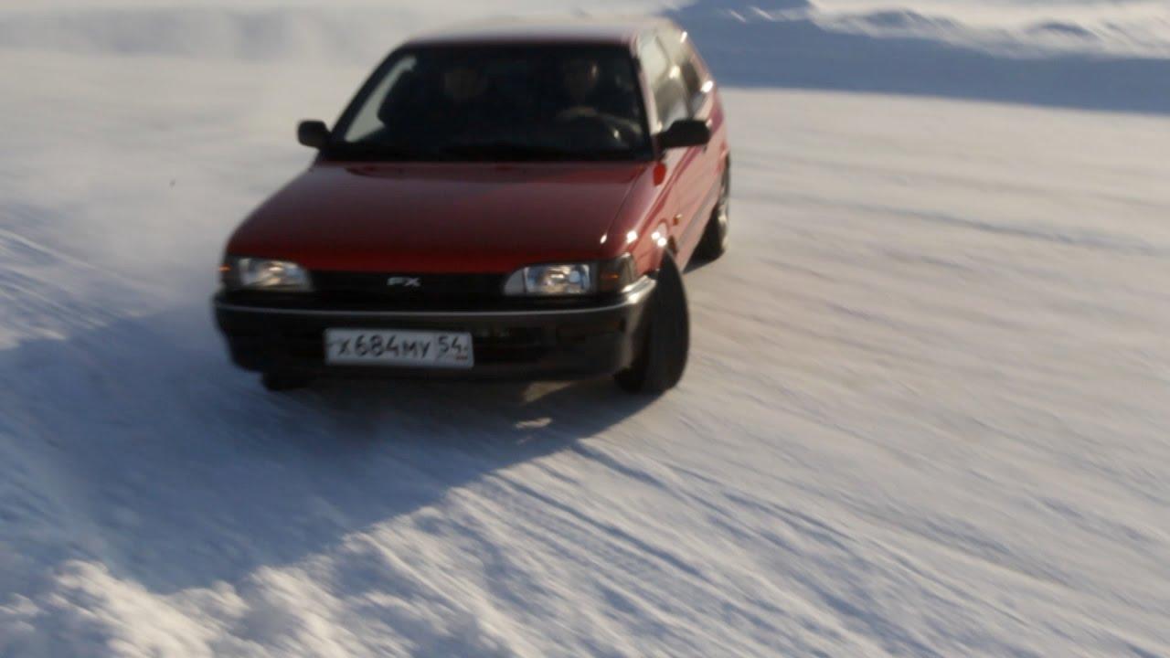 Toyota Corolla XL (FX) 88 г.в. В -29°С гоняем по ледовому треку. 140 л.с. на 725 кг.