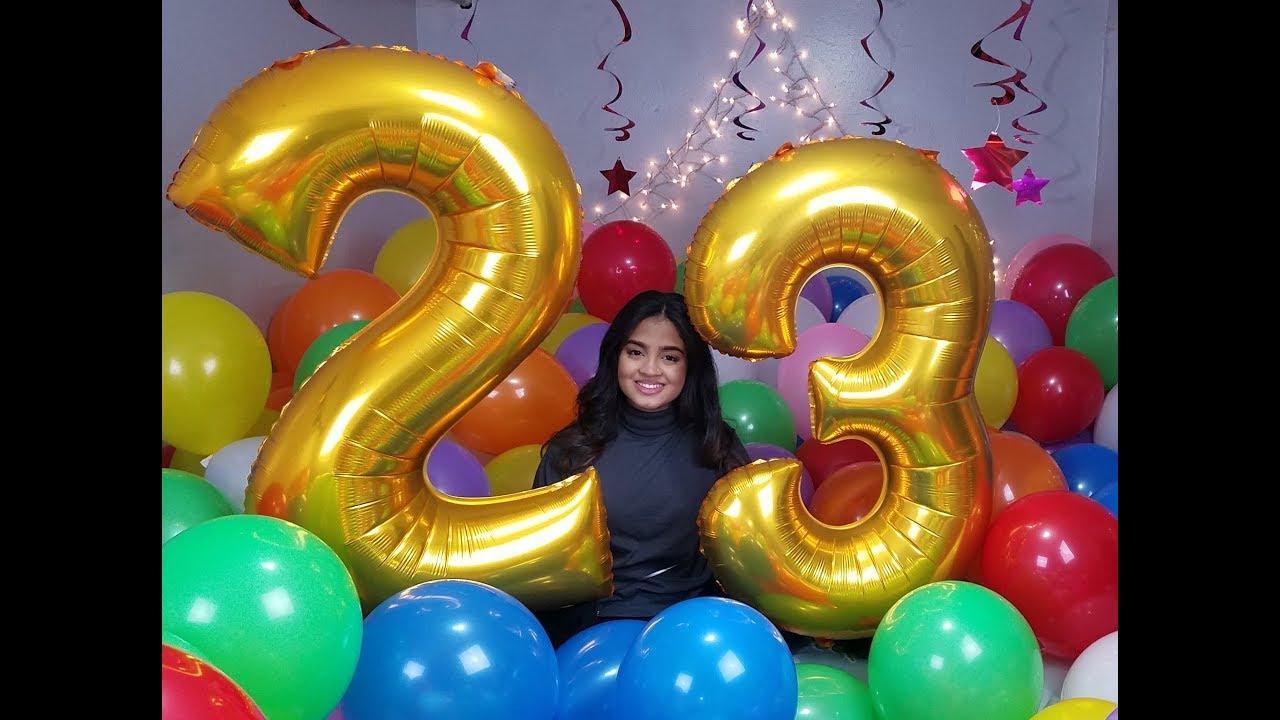 Room Full Of Balloons For Her Birthday Surprise