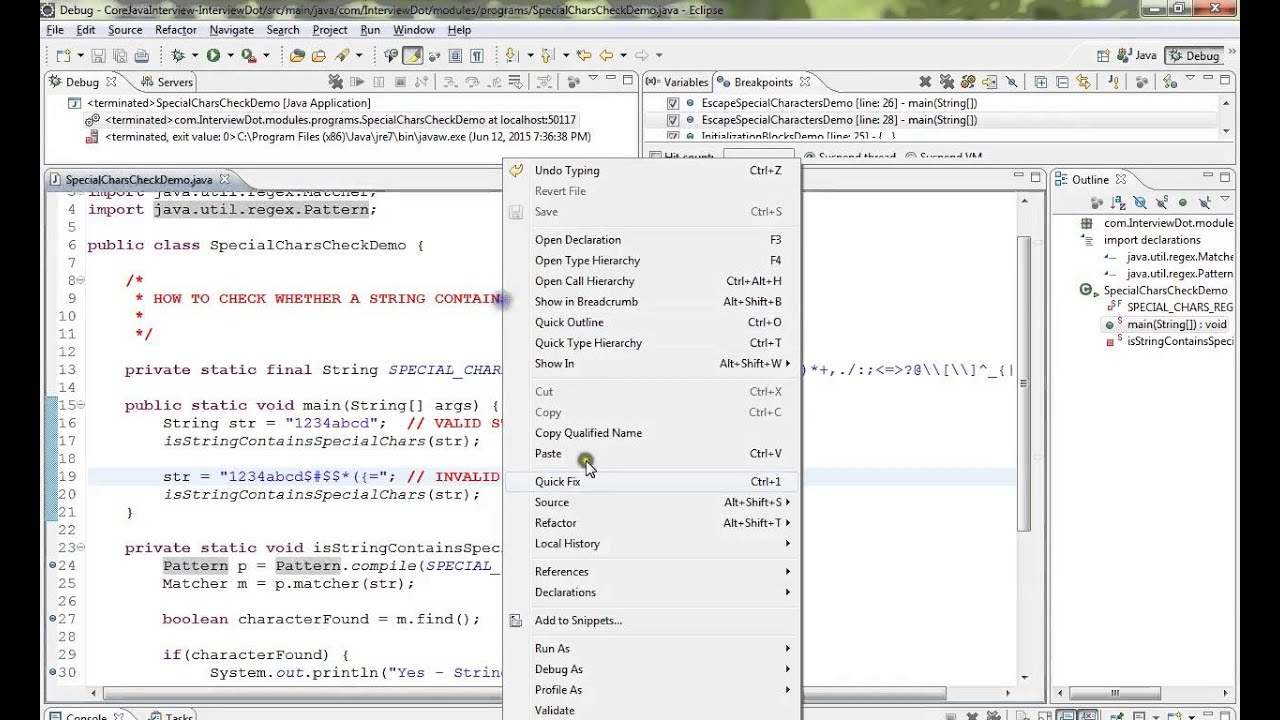 TAMIL HOW TO CHECK WHETHER A STRING CONTAINS SPECIAL CHARACTERS IN JAVA